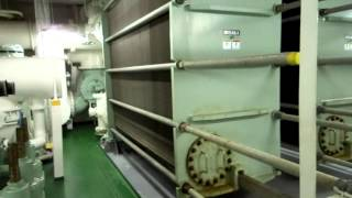 Container ship. Engine room walking on TEU 6350