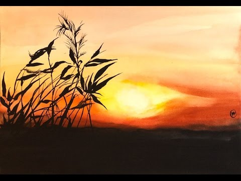 Easy Watercolor Sunset Painting Demonstration