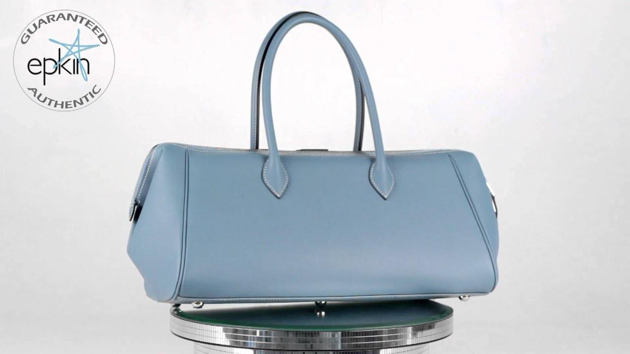 hermes travel bag - HERMES Epsom PARIS BOMBAY Handbag Bag Purse Birkin Blue Jean 37cm ...