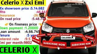 Maruti.Suzuki.Celerio.☓.Zxi.Emi.Loan.Down.payment.Ex.showroom.price.On.Road
