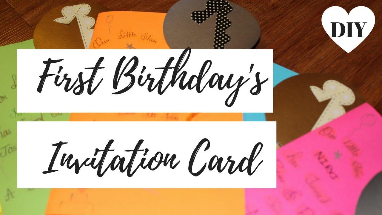 DIY ♥ FIRST BIRTHDAY\'S INVITATION CARDS || NIRVI\'S BIRTHDAY CARDS ...