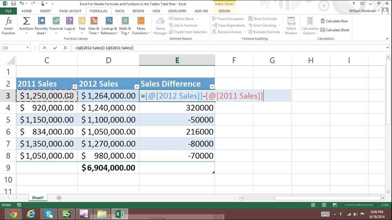 Excel For Noobs Tutorial Part 61 Tables Formulas Cell Reference 2016 2013