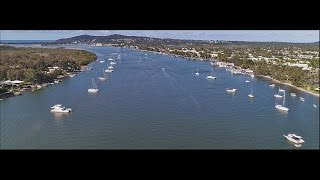 Panoramic Aerial Drone Flight From Tewantin To The River Mouth. Sunday April 23, 2017.