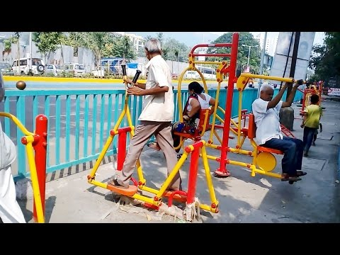Free Road Side Gym Garden Made By The Muncipal Department Of Thane India 2015 [HD VIDEO]