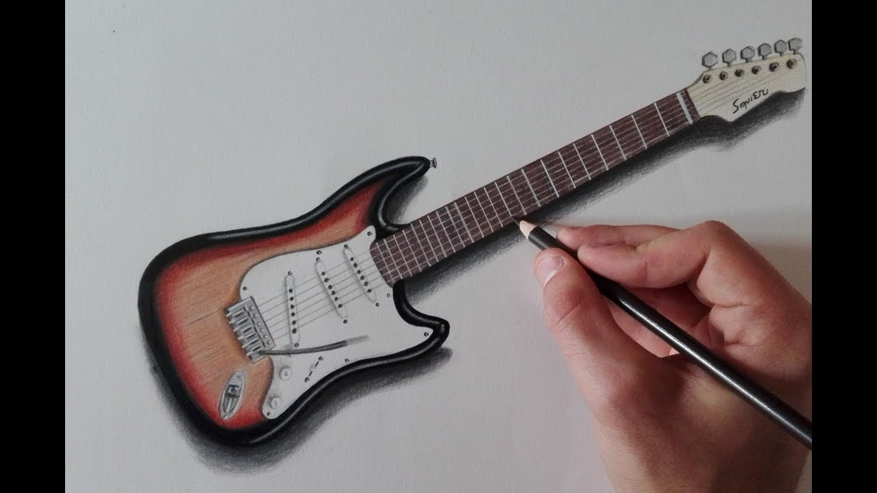 How To Draw An Electric Guitar Youtube