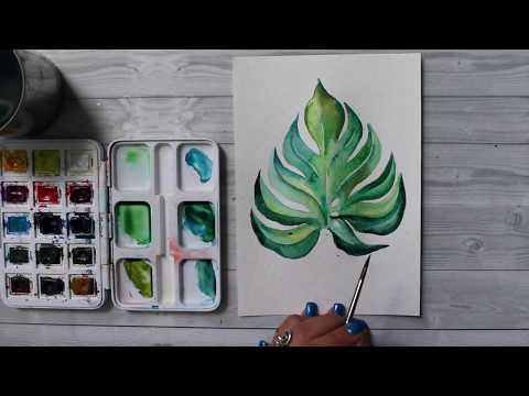 Как нарисовать тропический лист акварелью. 365 арт дней. День 7