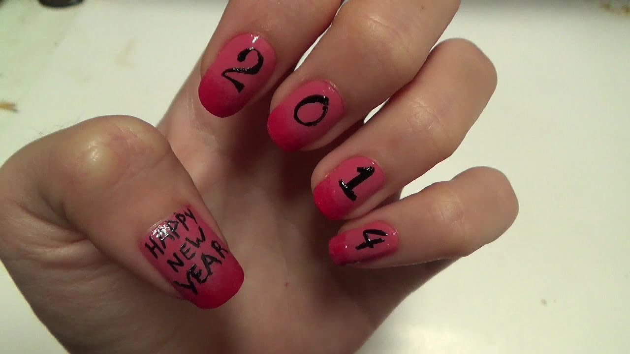 Easy Nails Art - Happy New Year 2014 - YouTube