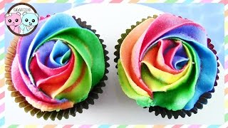 RAINBOW ROSE CUPCAKES, RAINBOW FROSTING, DIY EASY YUMMY CUPCAKES