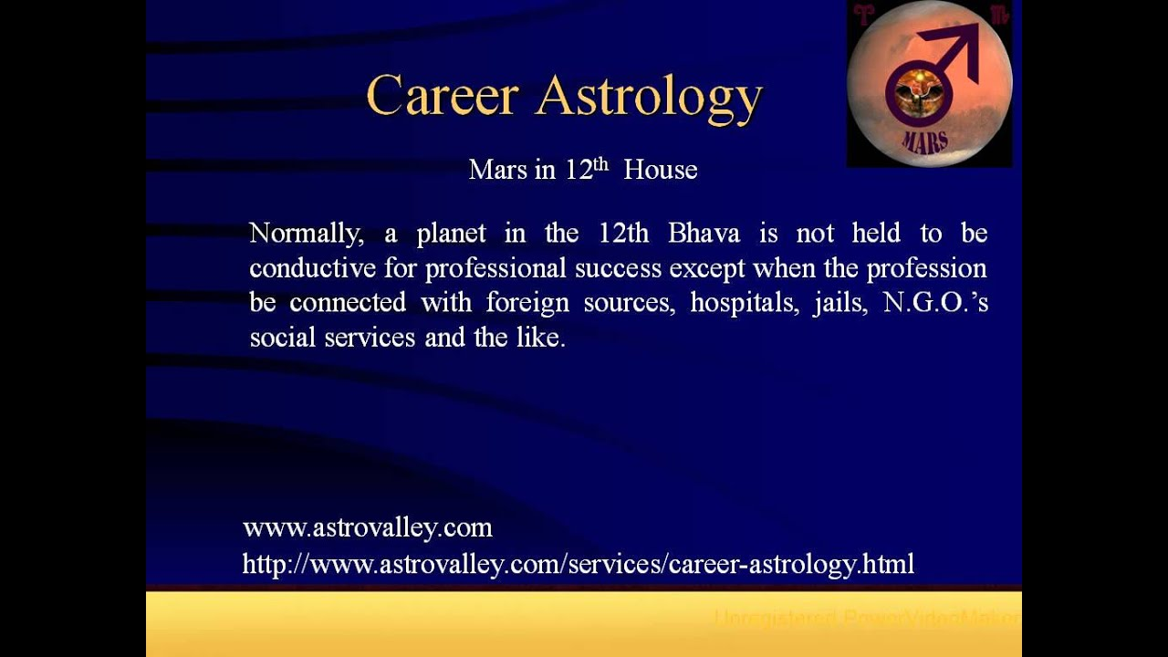 Career astrology mars in 12th house youtube career astrology mars in 12th house nvjuhfo Gallery