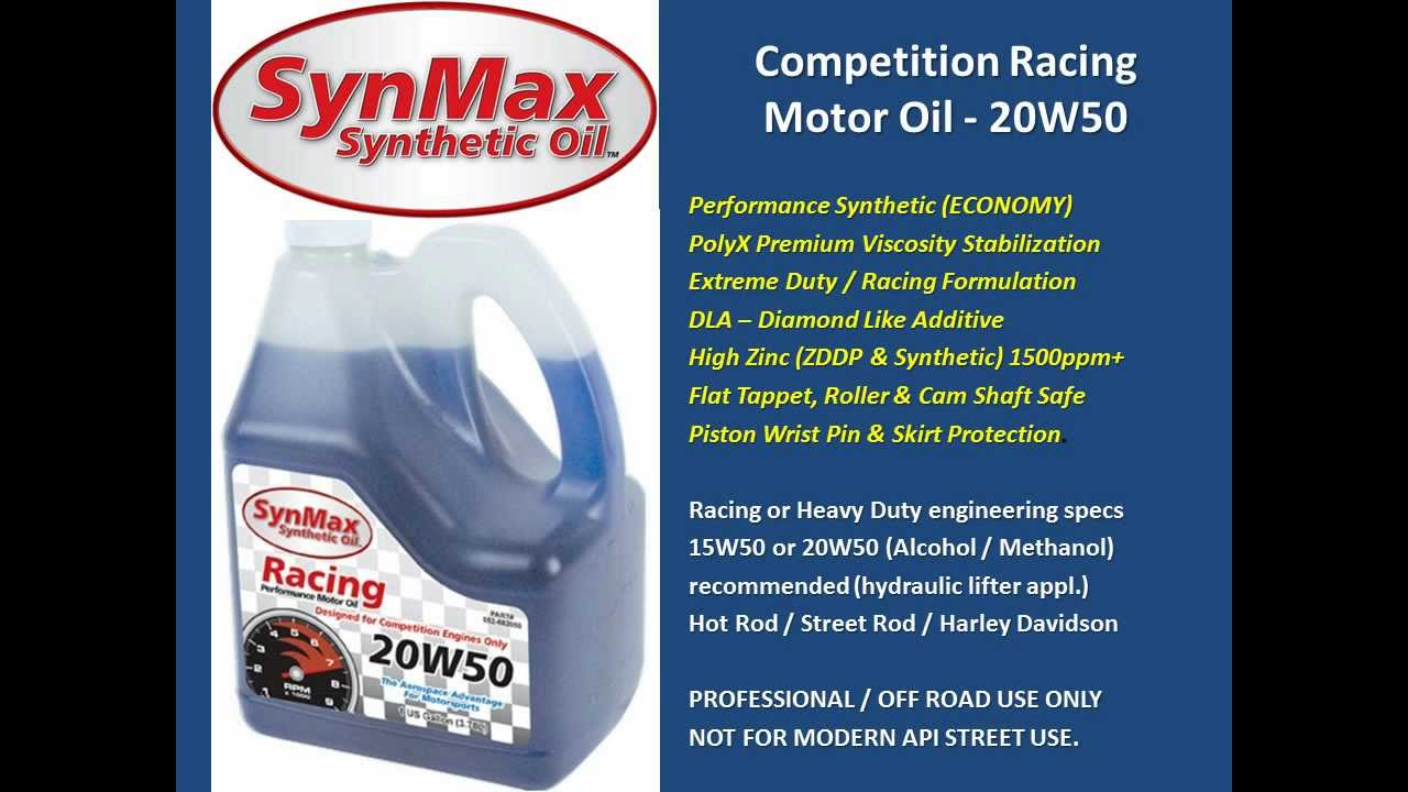 SynMax 682050 - Synthetic Blend Racing Oil - 20w50