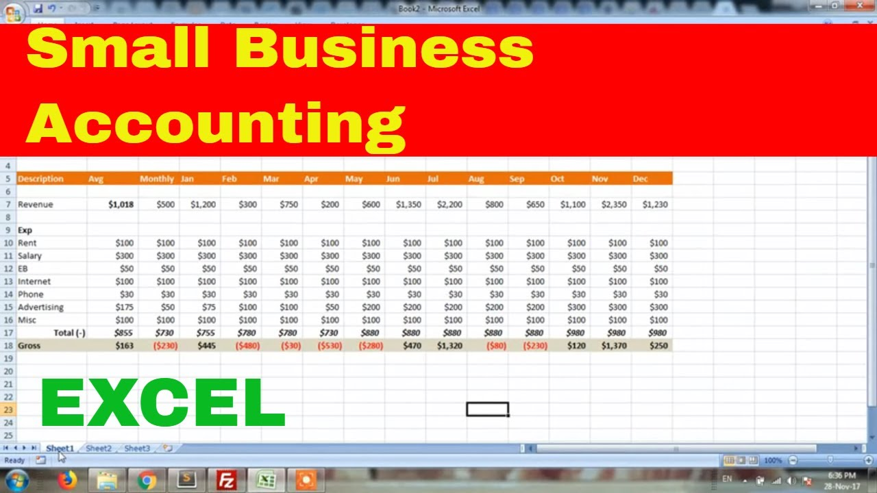 small business accounting in microsoft excel excel tutorial