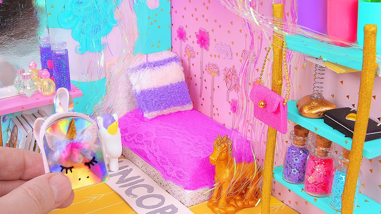 Diy Miniature Magical Unicorn Dollhouse Room Youtube