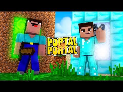 Minecraft- NOOB PORTAL VS PRO PORTAL! (Little Kelly Vs TinyTurtle)