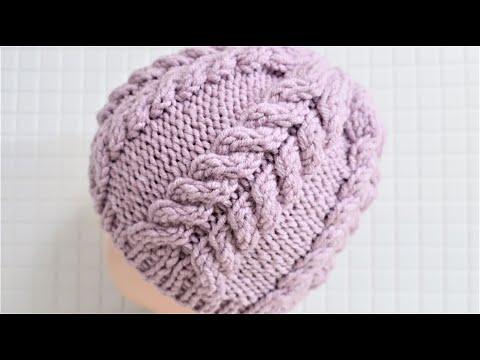 Вязание спицами шапка женская зимняя видео
