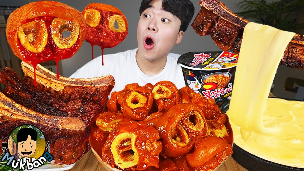 ASMR MUKBANG 우족찜 & 우대갈비 & 불닭볶음면 FIRE Noodle & SPICY BRAISED BEEF FEET & BEEF RIBS EATING SOUND!