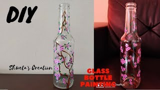 DIY Bottle Painting | Upcycle Glass Bottle | Glass Bottle Painting | Home Decor Ideas