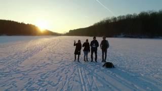Ellertshäuser See zugefroren!  mit einer DJI Phantom 3 Drohne überflogen