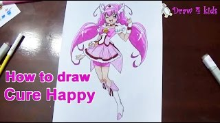 How To Draw Cure Happy from Smile Pretty Cure | D4K