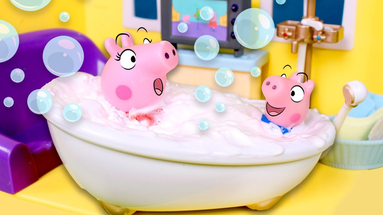 Peppa Pig se da un baño de espuma 🍦💦 ️ Peppa Pig y George ...