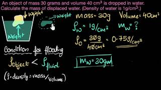 Find mass of displaced liquid - solved example | Fluids | Physics | Khan Academy