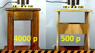 HYDRAULIC PRESS VS EXPENSIVE AND CHEAP STOOL