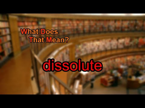 What does dissolute mean?