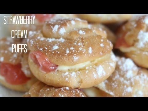 How To Make Simple Strawberry Cream Puffs | Pastry Cream Recipe | Profiteroles Creativity With Sugar