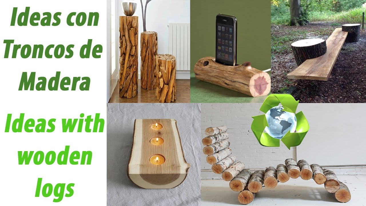 Ideas con troncos de madera para decorar youtube for Ideas para decorar antejardin