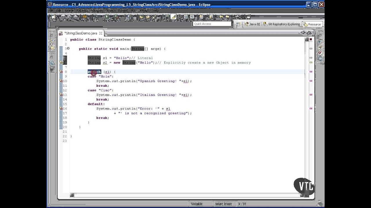 Advanced Java tutorial - The String Class - YouTube