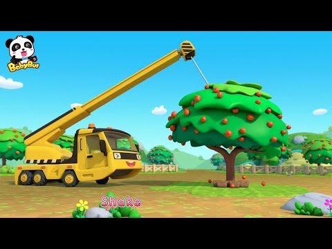 Toy Car Story: Waterwheel, Tractor, Crane | Baby Panda Plants Apple Trees | BabyBus