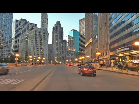 Chicago 4K - Sunset Drive - Driving Downtown