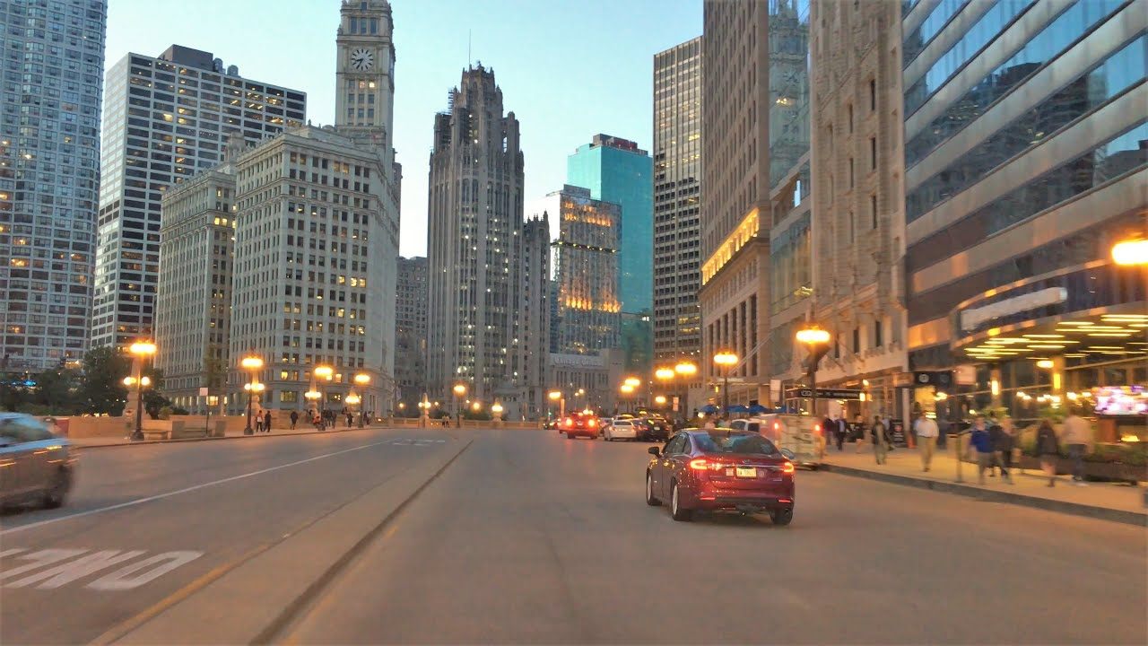 Download Chicago 4K - Sunset Drive - Driving Downtown