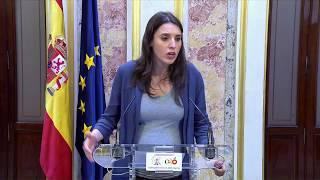Irene Montero tras el discurso de Pedro Sánchez en el debate de moción de censura