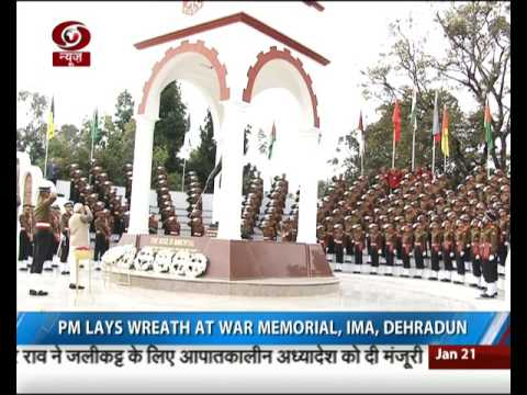 PM Modi lays wreath at War Memorial, IAM, Dehradun