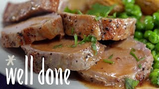 How to Make Roasted Pork Tenderloin With Golden Potatoes And Herb Dressing | Recipe | Well Done
