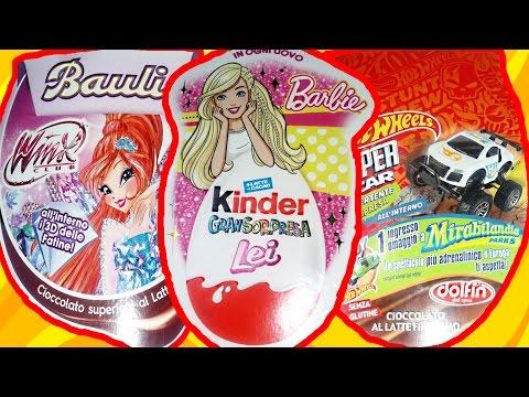 Распаковка киндер яйцо  3 огромных яйца  Winx club, Kinder Большой Сюрприз и HotWheels