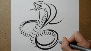 How to Draw a Cobra Snake - Tribal Tattoo Design Style