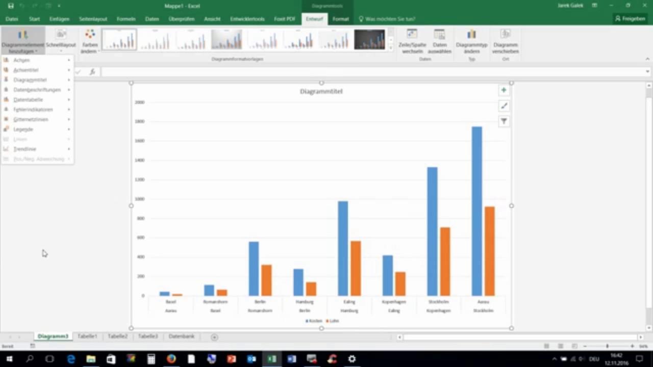Diagramm Mit Excel 2016 Erstellen