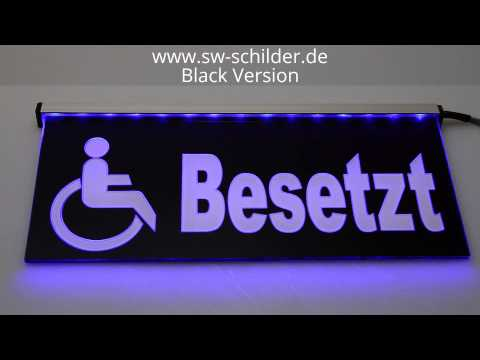 led schild wc rollstuhl besetzt gravur satin black. Black Bedroom Furniture Sets. Home Design Ideas