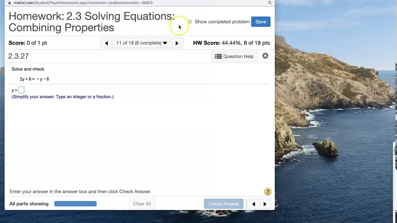 Algebra 1 - Section 2.3 - Solving Equations: Combining ...