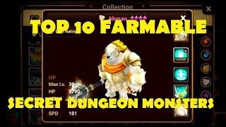 Summoners War - Top 10 FARMABLE Secret Dungeon Monsters!