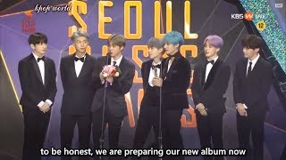 [ENG SUB]  BTS Win Bonsang Award @ Seoul Music Awards 2019 -  they talk about TXT