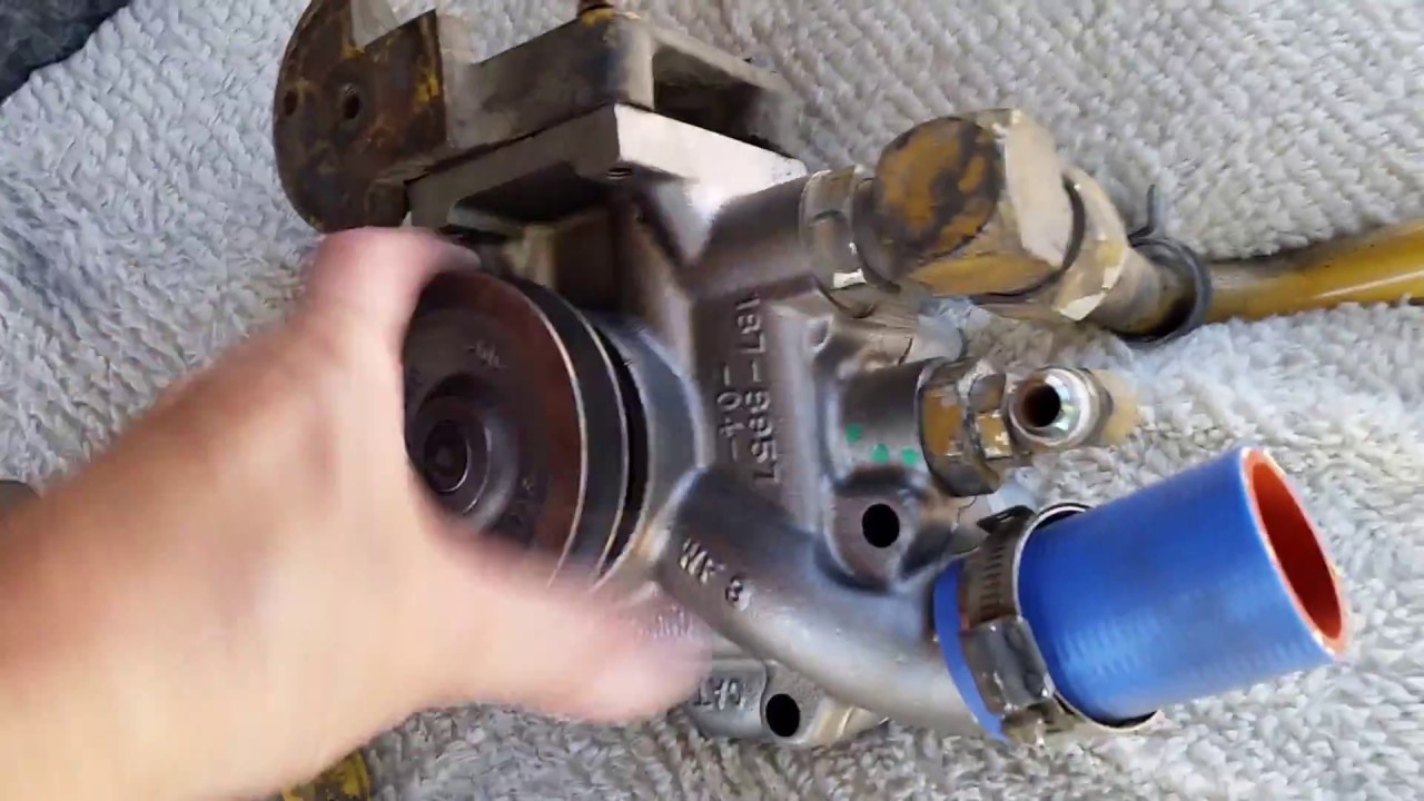 rv repair caterpillar c7 water pump replaced while at campground with basic hand tools  [ 1280 x 720 Pixel ]