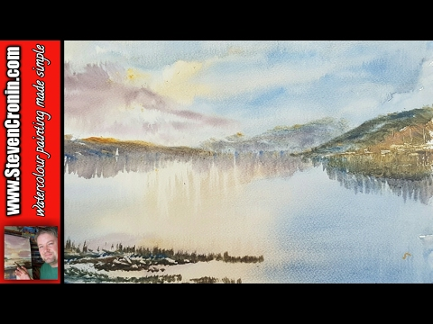 Quick and simple watercolour landscape painting tutorial of Loch Tay