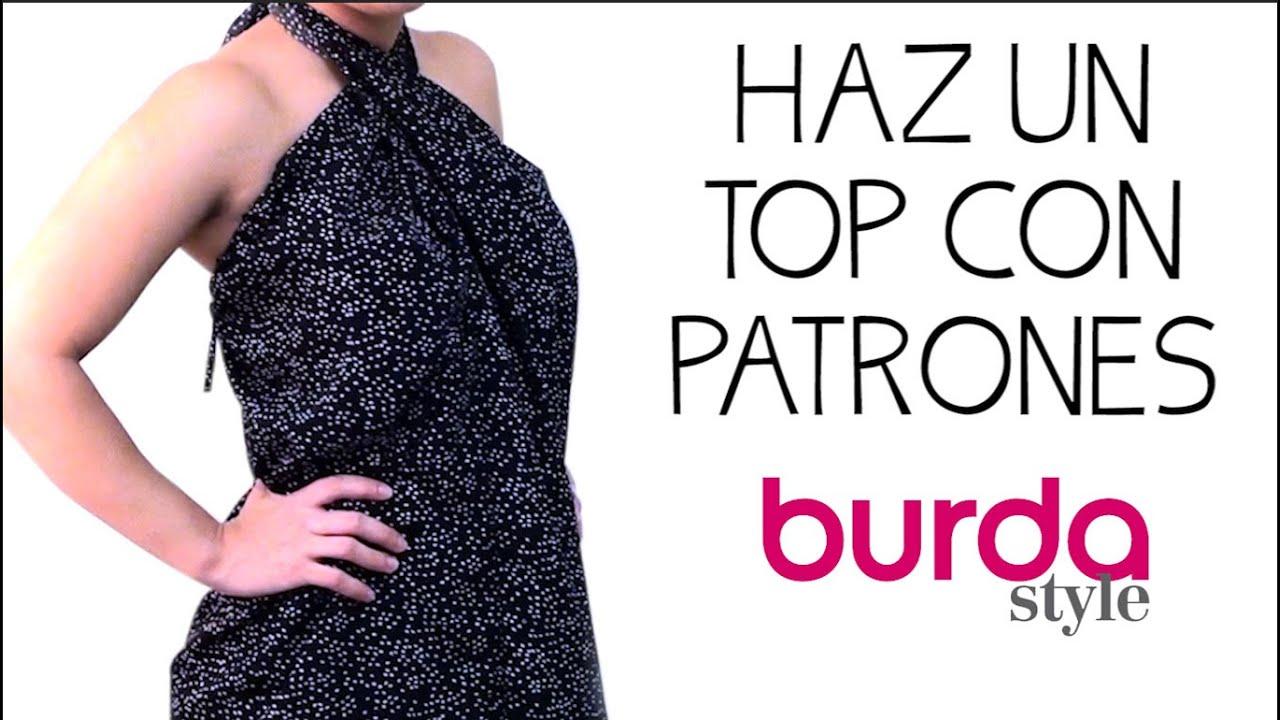 Haz un top con patrones Burda - YouTube