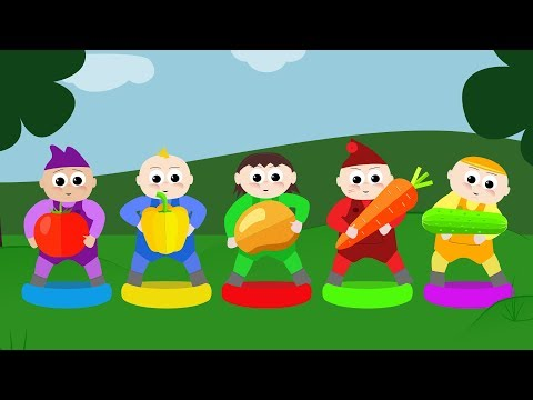 Learn Vegetables with Five Little Babies Jumping On The Bed Educational Videos Song for Kids