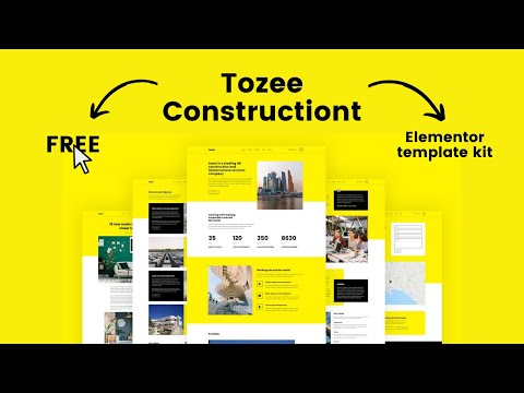 Tozee Constructiont Elementor TEMPLATE KIT Giveaway - YouTube