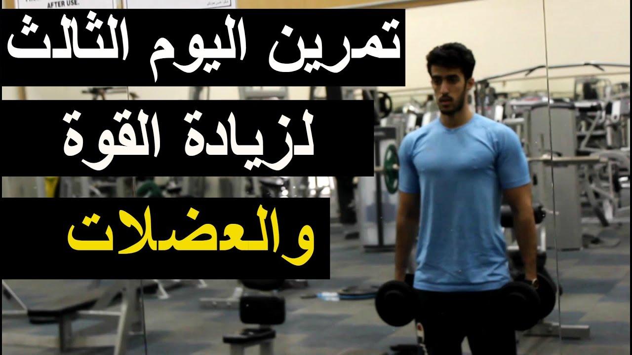 تمرين زيادة قوة وبناء عضل I تمريني اليوم الثالث(ظهر وكتف وترابيس)