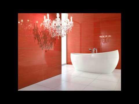 Красная плитка в ванной