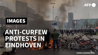 Anti-curfew protesters clash with police in Eindhoven | AFP
